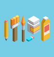 isometric colored flat design icons set of art vector image