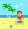 kid eating sweet watermelon with seed on beach vector image vector image
