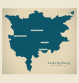 modern map - ludwigsburg county baden vector image vector image