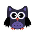owl stylized icon in dark blue colors vector image
