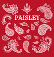 paisley motifs ink pen set vector image