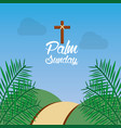 palm sunday hill path frond religious vector image vector image