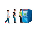 people waiting to queue to an atm vector image vector image