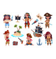 pirate characters cartoon kids pirates sailors vector image