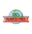 plastic free product label logo line style with vector image