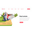 real estate flat landing page template young vector image vector image