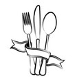 ribbon spoon knife and fork vector image