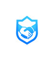 safe deal partnership icon with handshake vector image