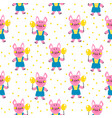 seamless pattern with funny pigs vector image