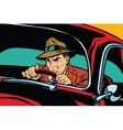 Serious retro man driving a car vector image vector image