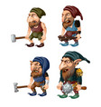 set of goblins with a bludgeon axe hammer and vector image vector image