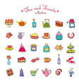 set of tea and sweets silhouette collection vector image vector image