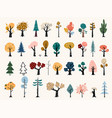 set trees in a flat style tree icons vector image vector image