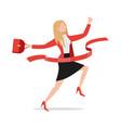 successful running businesswoman crossing finish vector image