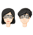 Test-glasses on man and woman head vector image vector image
