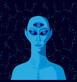 three-eyed alien on background starry sky vector image