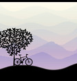 travel background with bike silhouette vector image vector image