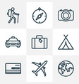 traveling icons line style set with suitcase vector image