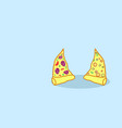 two hot pizza slices tasty classic fast food vector image