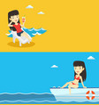 two travel banners with space for text vector image vector image