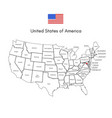 united states of america map usa line flag vector image