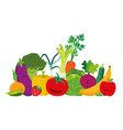 vegetables and fruits character collection vector image