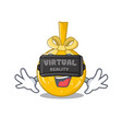 virtual reality christmas ball gold on a character vector image vector image