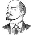 vladimir lenin portrait in line art vector image vector image