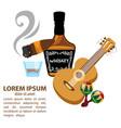 Whisky cigar guitar and maracas mexico and wild