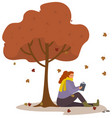 woman reading book under big tree in autumn park vector image