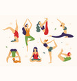 women are doing yoga in different poses vector image vector image