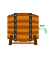 wooden barrel beer with a tap icon vector image vector image