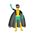 young masked man in a superhero costume waving his vector image vector image