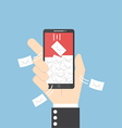 Businessman hand holding smartphone with spaming vector image