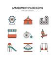 amusement park line icons flat design vector image vector image