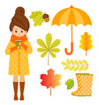 autumn set with girl hedgehog and leaves vector image vector image