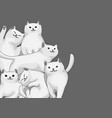 background with cartoon white cats vector image vector image