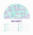 bad habits concept in half circle vector image vector image