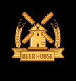 beer house logo with windmill vector image vector image