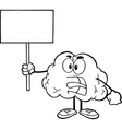 Brain holding sign vector image vector image