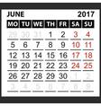 calendar sheet June 2017 vector image