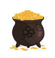 cauldron with gold isolated on a white background vector image