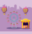 circus tent sale ticket with amusement park vector image vector image