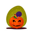 cute halloween smiling pumpkin with sweets vector image vector image