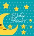 cute kawaii stars happy baby shower card vector image vector image