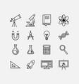 education flat icon set science icon set vector image
