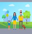 family in city park having fun vector image vector image