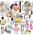 fashion seamless wallpaper pattern with perfume vector image