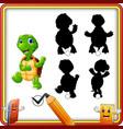 find the correct shadow cartoon funny turtle wavi vector image