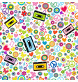 flower power background with audio tape cassettes vector image